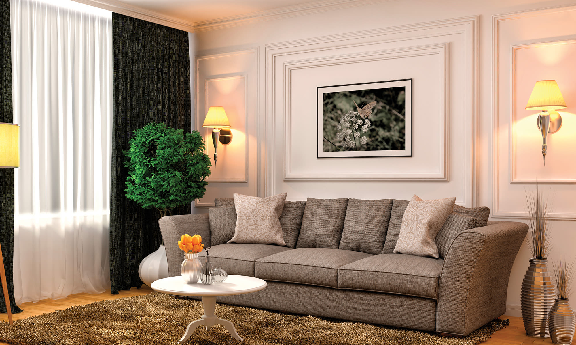 living room with couch and chairs