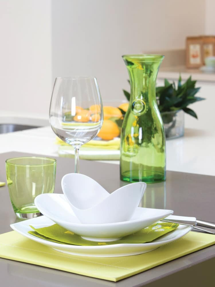 table setting with plates and glasses