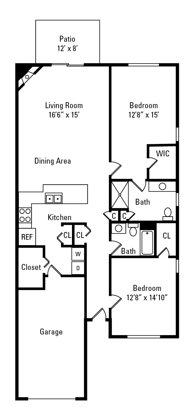 floor plan for elms of Bloomsfield apartment